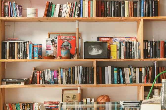 books in shelf inside room